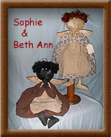 Sohie and Beth Ann-angel, stitch-sculpted, old-fashioned, painted, distressed muslin, Sophie and Beth Ann, primitive,