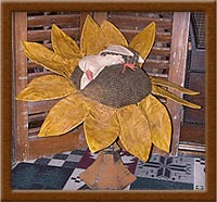 Sweet Dreams-duck, flower, sunflower, pin-keep, Sweet Dreams, primitive, painted, muslin