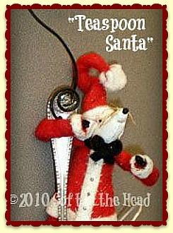 Teaspoon Mouse Ornament-ornament, mouse, santa, spoon