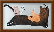 Theo the Cat-cat, mouse, angel, flying, primitive, painted muslin, Theo,