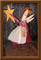 Trina Treetop-treetop, angel, painted muslin, Christmas, Trina Treetop, primitive,