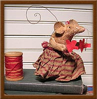 Lucy in Love-mouse, love, primitive, heart, Lucy in Love, Valentine, muslin